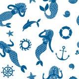 Безшовная картина с симпатичными русалками шаржа Стоковое фото RF