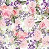 Безшовная картина с сиренью и розами акварели цветет Стоковые Изображения RF