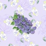 Безшовная картина с сиренью и цветками Стоковые Изображения