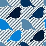 Безшовная картина с силуэтами птицы Стоковое Изображение RF