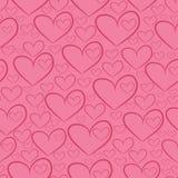 Безшовная картина с силуэтами сердец Стоковые Фото