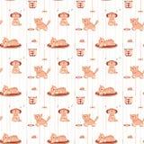 Безшовная картина с смешными котами в плоском стиле Стоковое Изображение RF