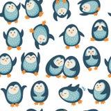 Безшовная картина с смешными пингвинами Стоковые Фото