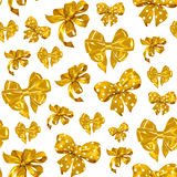 Безшовная картина с смычками желтого цвета акварели рисуя Стоковые Фото