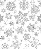 Безшовная картина с снежинками, взрослая расцветка Стоковые Изображения RF
