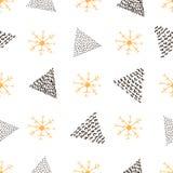 Безшовная картина с снежинками и треугольниками Стоковое Изображение RF
