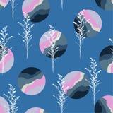 Безшовная картина с современными геометрическими мрамором круга и силуэтом ботанического регулярного дизайна повторения для моды, бесплатная иллюстрация