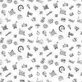 Безшовная картина с социальными doodles дела средств массовой информации Стоковые Изображения
