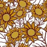Безшовная картина с солнцецветом цветков Стоковая Фотография RF