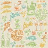 Безшовная картина с среднеземноморскими элементами еды. Стоковая Фотография RF