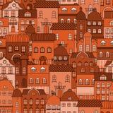 Безшовная картина с старым городком Стоковое Фото