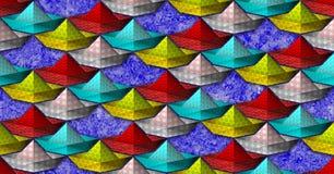 Безшовная картина с стилизованной бумажной шлюпкой Стоковая Фотография RF