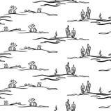 Безшовная картина с стилизованной пустыней Стоковое Изображение