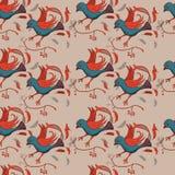 Безшовная картина с стилизованными птицами в этническом стиле бесплатная иллюстрация