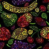 Безшовная картина с стилизованными плодоовощами Стоковые Фотографии RF