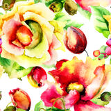 Безшовная картина с стилизованными цветками Стоковые Изображения RF