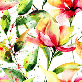 Безшовная картина с стилизованными цветками Стоковая Фотография