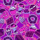 Безшовная картина с сладостной едой Стоковые Изображения