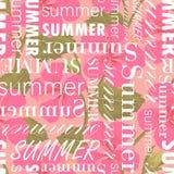 Безшовная картина с текстом лета, красочным иллюстрация вектора