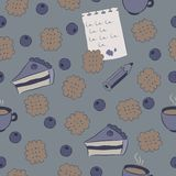 Безшовная картина с тортами, голубикой и кофе. Стоковая Фотография RF