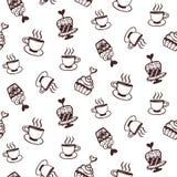 Безшовная картина с тортами и кофейными чашками Стоковая Фотография
