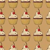 Безшовная картина с тортами, иллюстрация вектора Стоковые Фото