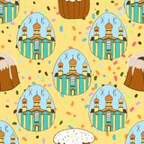 Безшовная картина с тортами пасхи, покрашенными яйцами пасха счастливая предпосылка праздничная Дизайн для знамени, плаката или п иллюстрация штока