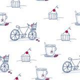 Безшовная картина с тортами, чашками и велосипедами doodle Стоковое Изображение