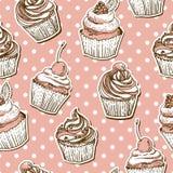 Безшовная картина с тортами Стоковые Изображения RF