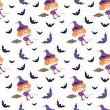 Безшовная картина с традиционными характерами хеллоуина Стоковое Фото