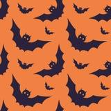 Безшовная картина с традиционными элементами хеллоуина Стоковая Фотография
