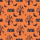 Безшовная картина с традиционными элементами хеллоуина Стоковые Изображения RF