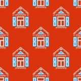 Безшовная картина с традиционными русскими окнами Иллюстрация вектора