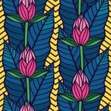 Безшовная картина с тропическими листьями и цветками Бесплатная Иллюстрация