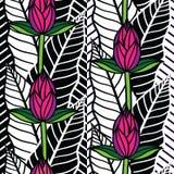 Безшовная картина с тропическими листьями Иллюстрация вектора