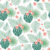 Безшовная картина с тропическими листьями и цветками иллюстрация штока