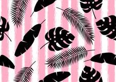 Безшовная картина с тропическими листьями ладони Экзотические тропические заводы Иллюстрация природы джунглей Стоковое Изображение