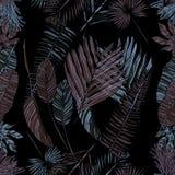 Безшовная картина с тропическими листьями стоковая фотография