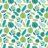 Безшовная картина с тропическими листьями Стоковое Изображение