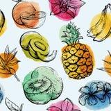 Безшовная картина с тропическими плодоовощами flowersand Стоковое Фото