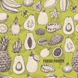 Безшовная картина с тропическими плодоовощами на салатовой предпосылке Стоковое Изображение