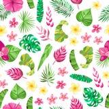 Безшовная картина с тропическими slowers, листьями Стоковая Фотография