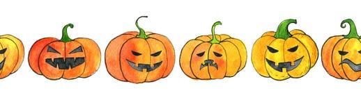 Безшовная картина с тыквами хеллоуина акварели бесплатная иллюстрация
