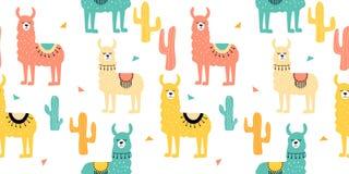Безшовная картина с украшенными ламами в плащпалате и кактусе Ультрамодная печать мультфильма иллюстрация штока