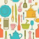Безшовная картина с утварями кухни цвета также вектор иллюстрации притяжки corel иллюстрация штока