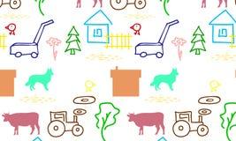 Безшовная картина с фермой иллюстрация вектора