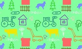 Безшовная картина с фермой иллюстрация штока
