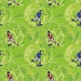 Безшовная картина с футболистами Стоковое Изображение