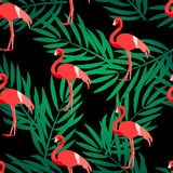 Безшовная картина с фламинго и зеленой ладонью разветвляет Орнамент для ткани и оборачивать Предпосылка лета вектора Стоковое Изображение RF