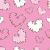 Безшовная картина с флористическими сердцами бесплатная иллюстрация